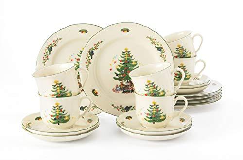 Seltmann Weiden Kaffeeservice 18-teilig Cream   Set für bis zu 6 Personen  Serie Marieluise   beinhaltet je 6 Speiseteller und Frühstücksteller, Hartporzellan, Grün/Bunt