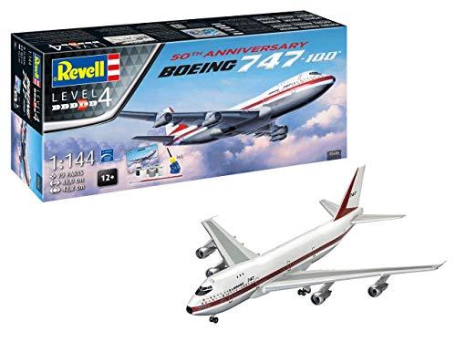 Revell 05686 Jubiläumsset Boeing 747-100, 50th Anniversary originalgetreuer Modellbausatz für Fortgeschrittene, mit Basis-Zubehör, Mehrfarbig, 1: 48 (144 Revell Model 1 Kits)