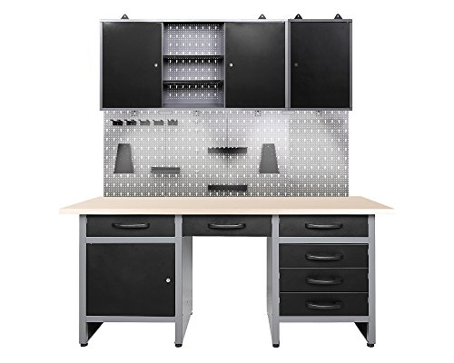 Ondis24 Werkstatteinrichtung mit LED Beleuchtung, 170 cm breit, Werkbank, Werkzeugschrank,...