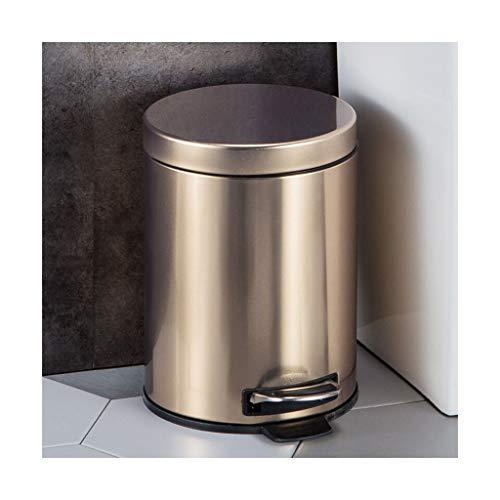 Mülleimer Abfalleimer Hause Wohnzimmer Küche Schlafzimmer Hotel Fuß stumm Edelstahl 5L / 8L Trash can (größe : 23 * 33cm)