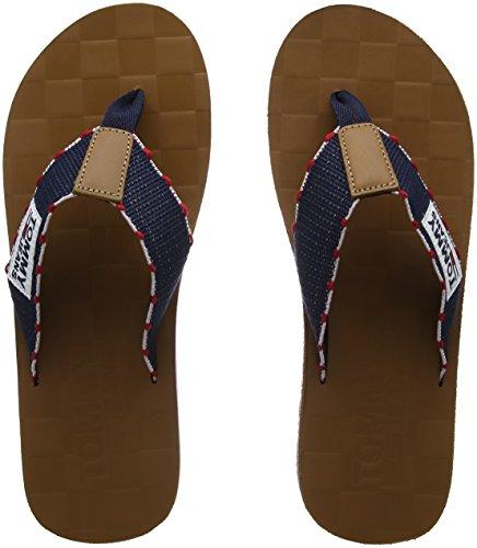 Hilfiger Denim Herren TJ Leather Footbed Beach Sandal Zehentrenner, Blau (Ink-Tango Red 903), 42 EU