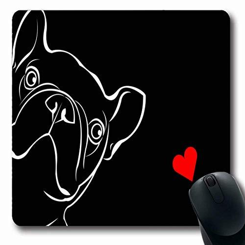 Mousepads Entzückende französische Hunderasse-nette Haustier-Bulldoggen-lustige Liebes-Schwarz-Boxer-Skizzen-Entwurfs-längliche Form-rutschfeste Spiel-Mausunterlage Gummi-längliche Matte,Gummimatte 11 -
