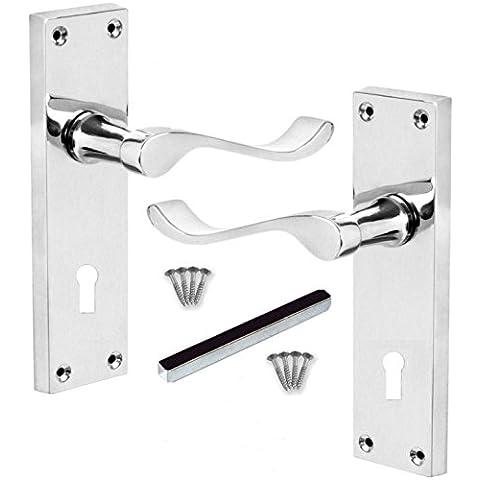 """Maniglie 6 """"Scroll Fermo Leva serratura della porta SATIN CROMO 150x40mm lucido (1 coppia)"""