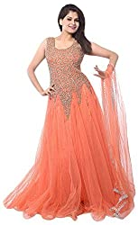 fresh@fashion Women Net Gown (fs1030_orange_orange_Free Size)
