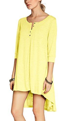 Urban GoCo Donna Abito Tunica Bottone Camicia Casual Mezza Manica T-shirt Tops Giallo