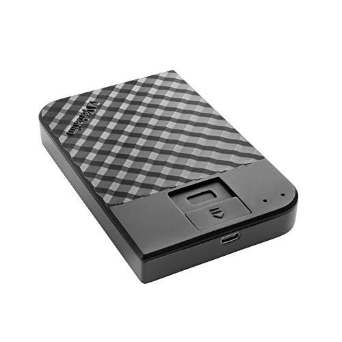 Verbatim Fingerprint Secure Tragbare Festplatte - 1 TB - externer Datenspeicher mit Fingerabdruckscanner zum Schutz Ihrer Daten, schwarz, 53650