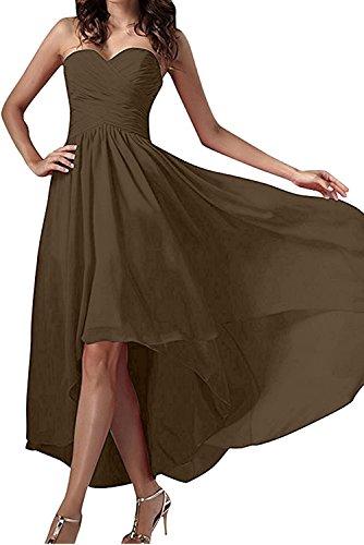 La_Marie Braut Dunkel Lila Chiffon Traegerlos brautjungfernkleider Abendkleider Partykleider Hi-Lo A-linie Braun