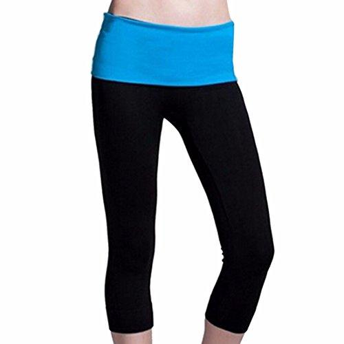QIYUN.Z Taille Haute Femmes elastiques Capri Courir Yoga Jambes Serrees Exterieur Pantalons De Sport Bleu