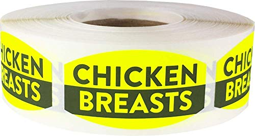 Chicken Breasts Grocery Store Food Labels .75 x 1.375 inch Oval Shape 500 Total Adhesive Stickers