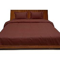 Algodón egipcio de 300hilos juego de sábanas con funda de almohada Extra Euro rey IKEA rojo ladrillo rayas 100% algodón 300TC