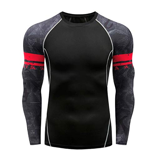 fiosoji Herren Langarm Yoga Fitness Soft Print Soft T-Shirt Tops Bluse