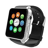 Smartwatch Herzfrequenz-Messgerät GSM GPRS Kommunikationsfunktion Bewegungsverfolgung Bluetooth Sportuhr,Silver