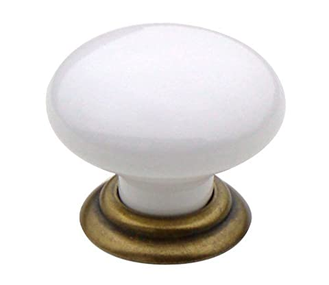 1 x White ceramic 35mm cupboard knob with antiqued brass base collar by Swish.