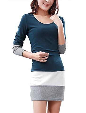 Allegra K Women Long Sleeve Color Block Slim Fit Mini Dress Navy Blue S