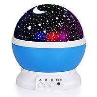 مصباح ليد بجهازعرض دوار لاضاءة ليلية يعرض صورة سماء ليلية حالمة مرصعة بالنجوم والقمر (ازرق)