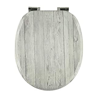 Toilettendeckel Design MDF-Holz WC-Sitz mit Absenkautomatik und verzinkten Scharnieren - Klodeckel WC-Brille Klobrille (Weißes Holz)