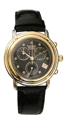 krug-baumen-gents-principle-diamond-gold-black-dial-black-strap-watch-150573dm