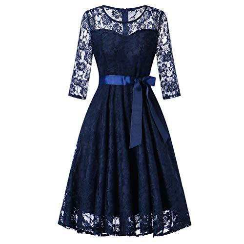 Bluelucon Damen Vintage 1950er Off Schulter Cocktailkleid Spitzen Schwingen Pinup Rockabilly Kleid