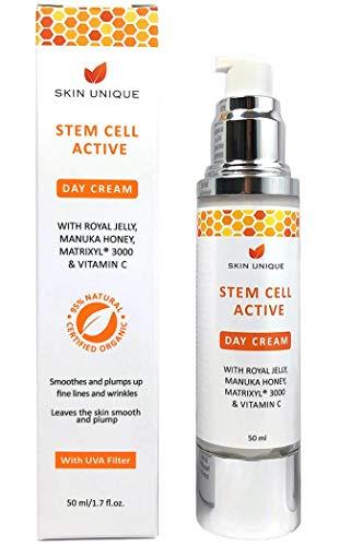 Stammzelle Aktive Tagescreme 50 ml - Natürliche & Organische Anti-Aging Gesichts-Feuchtigkeitscreme und Faltenfüller mit UVA Filter, Manuka Honig, Royal Jelly und Matrixyl 3000