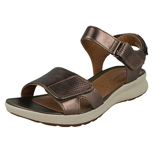 fa8880b1b95b Clarks Ladies Unstructured Sandals Un Adorn Calm - Pebble Metallic Leather  - UK Size 7.5E