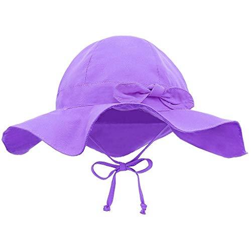 CCIKun Baby Sonnenhut Kinder Atmungsaktiver Sonnenhut UV Schutz 50, Sommer Breiter Krempe Hut Kordelzug Verstellbar Beach Hut/Outdoor Hut Anzug für0-4 Jahre altes Baby Kinder(Lila3,Einheitsgröße)