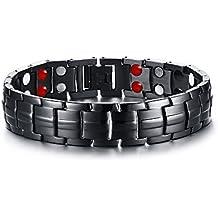 Vnox da uomo in acciaio inossidabile 4 in 1 per la terapia magnetica guarigione Braccialetto a maglie braccialetti,colore:nero,lunghezza:22,5 cm