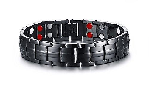 vnox Herren Edelstahl 4in 1Therapie Heilung Magnet-Armband Link Kette Armbänder, Schwarz Farbe, 22,5cm länge