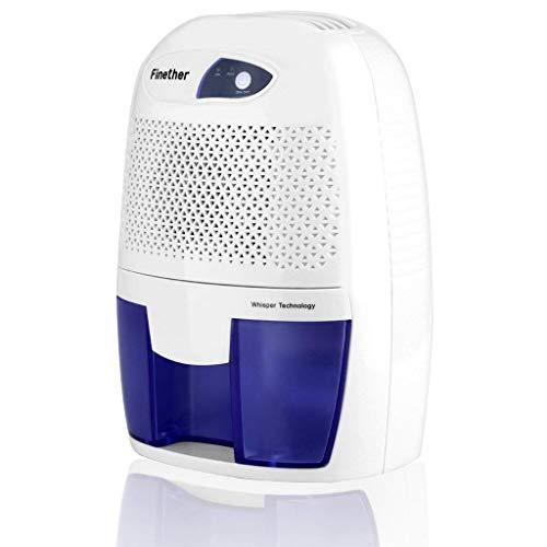 Finether-Mini Deshumidificador de Aire Portátil (500ml, Secadora para Casa, Dormitorio, Cocina, Garaje y más) Blanco