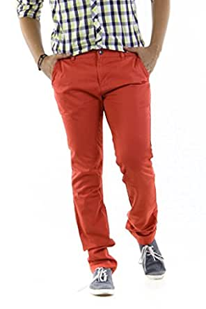 Bare Leisure Men's Cotton Straight Fit Trousers (305000000761594 _Mineral Red _36)