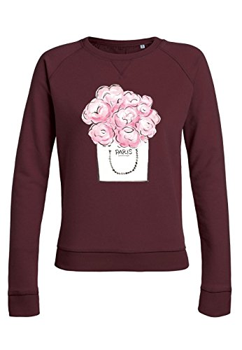 ul21 Sweat pour femmes Trips Paris Pink Flower Burgundy