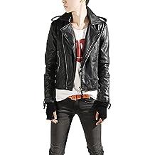 a920dd30b3 Chaqueta vintage para hombre de cuero PU chaqueta de motociclista cazadora  manga larga