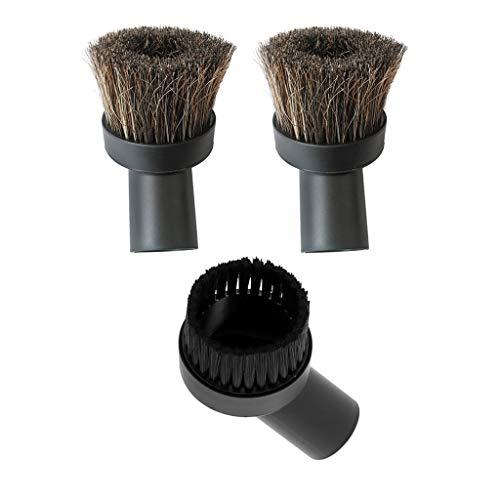 F Fityle 3 x Möbelpinsel Möbelbürste für Staubsauger - passend für die Durchmesser 32 mm -schwarz