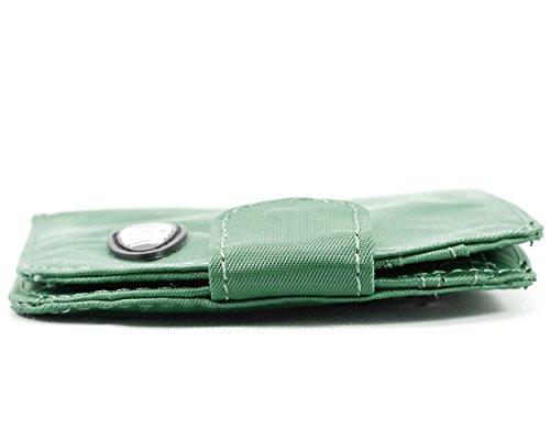 Big Taxicat bi-fold Slim skinny da donna in pelle, può contenere fino a 25biglietti, Graphite Cobble Verdant Green