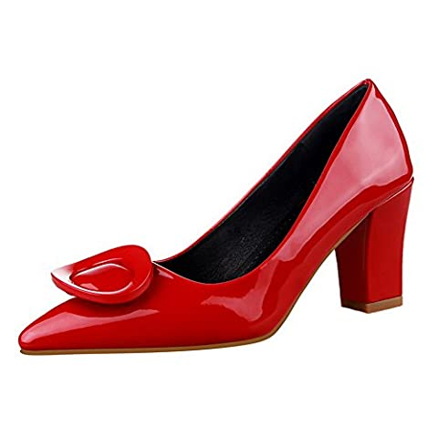 Adee Girls Low-Cut Uppers Chunky Heels Mule Red Patent Leather Pumps Shoes 3.5 UK