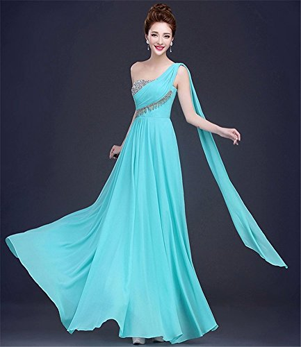 Drasawee Damen Empire Kleid Grün