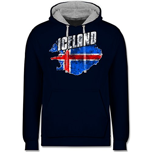 Fußball-WM 2018 - Russland - Iceland Umriss Vintage - Kontrast Hoodie Dunkelblau/Grau meliert