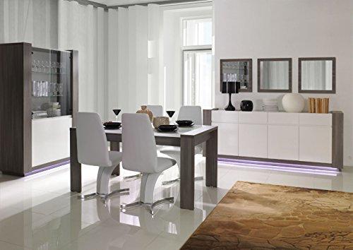 Esszimmer Komplett - Set - Dorida, 6-teilig, Farbe: Weiß Hochglanz - Dunkelbraun