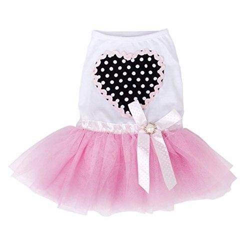 iiou rosa Tiny Pequeño de mascota Perro Cachorro vestido de princesa de encaje falda (M)