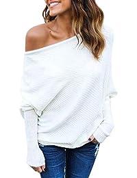 Minetom Mujer Moda Suéter Largo Casual Jersey Prendas de Punto de Cuello Barco Batwing Mangas Largas Camiseta Tops