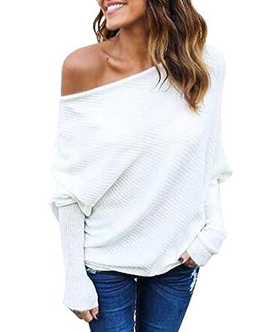 Minetom Femme Pullover Tricot Epaule Nue Manches Longues Batwing Jumpers Sweater Hauts Sweatshirt Chandail Tricoté Blanc FR 42