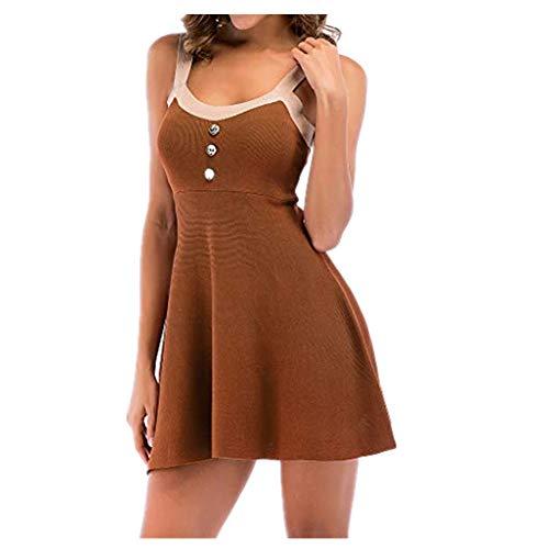 (iHENGH Damen Sommer Rock Lässig Mode Kleider Bequem Frauen Röcke ärmellose Knöpfe Rundhalsausschnitt Taille schmales Strickkleid(Khaki, M))
