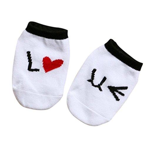 Neugeborene Baumwolle Anti-Rutsch-Boden Socken Ankle Booties Weiß 0-2y (Neugeborenen Bootie)