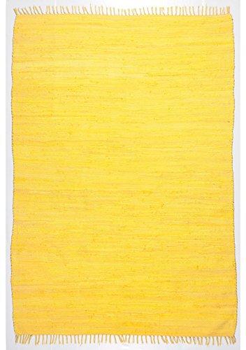 Hochwertiger Fleckerlteppich Happy Cotton, handgewebt aus 100% Baumwolle, in fröhlichen Farben, Farbe:Gelb;Größe:40 x 60 cm (Kleiner Gelber Teppich)