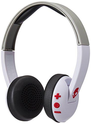 Skullcandy Uproar Wireless Bluetooth On-Ear Leicht Kopfhörer mit TapTech Playback Fernbedienung zur Musiksteuerung - Weiß/Grau/Rot Bluetooth-kopfhörer Jack