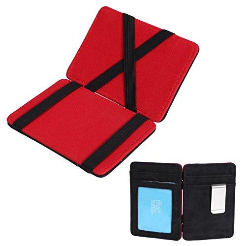ECM07B02 Rosso Nero Portafoglio Magia Solido e Credito / ID