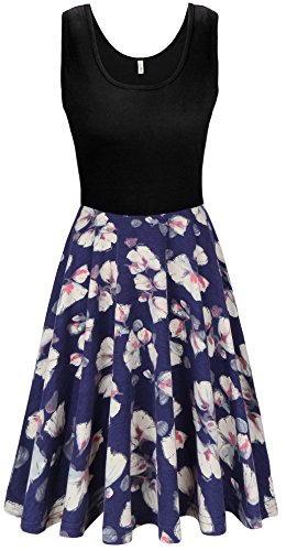 KorMei Damen Ärmelloses Beiläufiges Strandkleid Sommerkleid Tank Kleid Ausgestelltes Trägerkleid Blau Blume#2 S