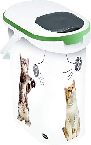 Curver 181224 Petlife Verseuse a Croquettes Version Chats Vert / Blanc / Gris Contenance 4Kg