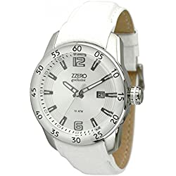 Zzero zb1111a Clock Unisex Quartz Quandrante Steel White Leather Strap