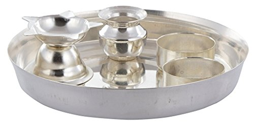 White Silver Metal Pooja Thali or Puja Plate Handmade Handicraft For Home Decor Gift Item  available at amazon for Rs.469