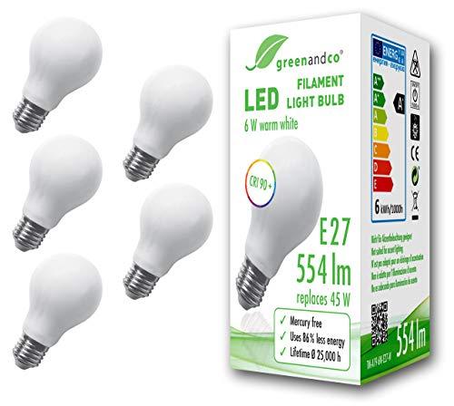 5x greenandco® IRC 90+ Ampoule à Filament dépolie LED E27 6W (équivalent 45W) 554lm 2700K (blanc chaud) 360° 230V Verre, aucun scintillement, non-gradable